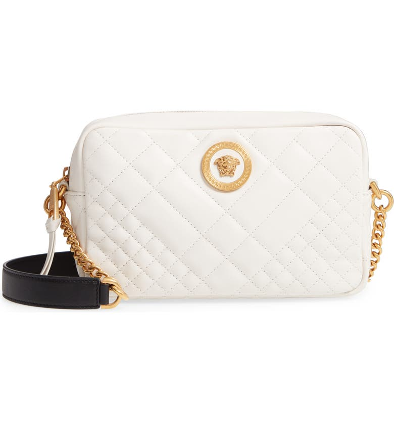 VERSACE Tribute Quilted Leather Camera Bag, Main, color, OFF WHITE/ BLACK/ TRIBUTE GOLD
