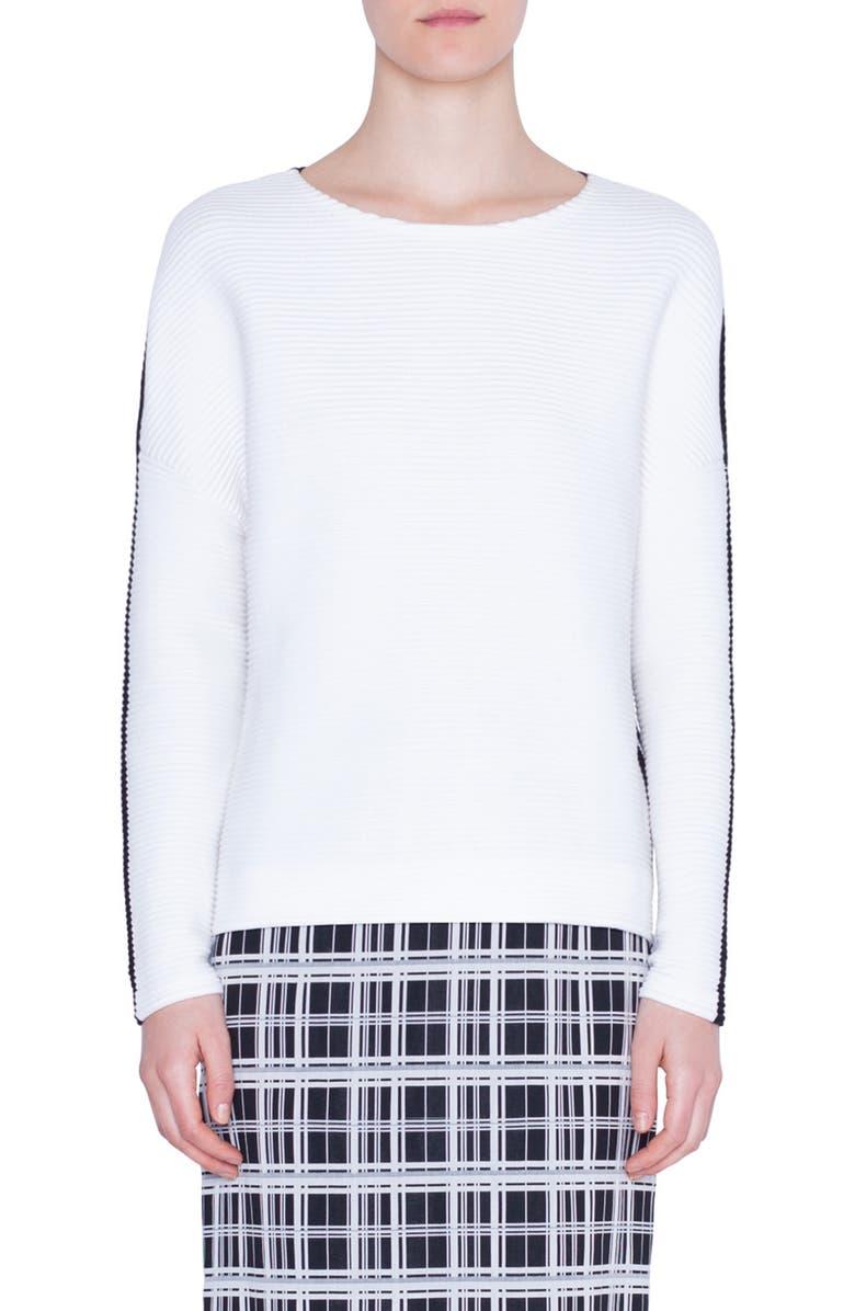 AKRIS PUNTO Bicolor Zip Detail Sweater, Main, color, CREAM/ BLACK