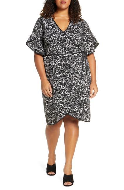 Image of Leota Paige Leaf Print Wrap Dress