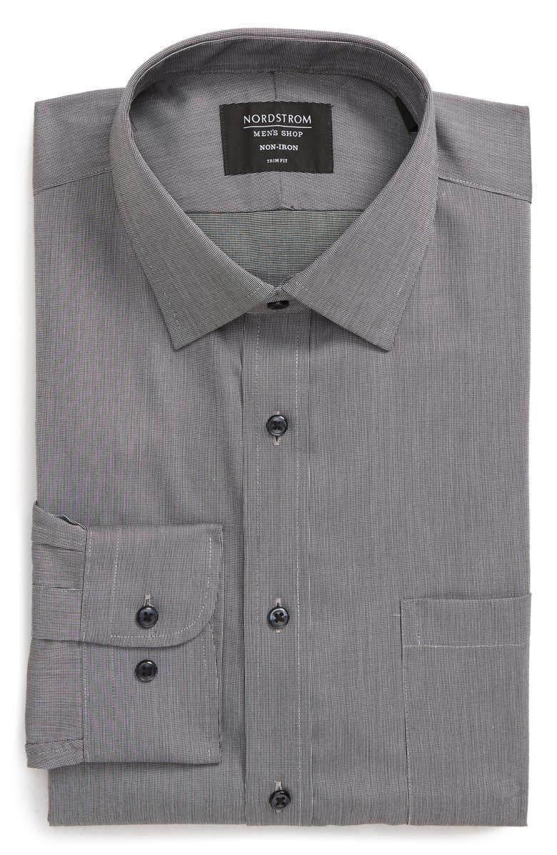 NORDSTROM MEN'S SHOP Trim Fit Non-Iron Dress Shirt, Main, color, GREY CASTLEROCK