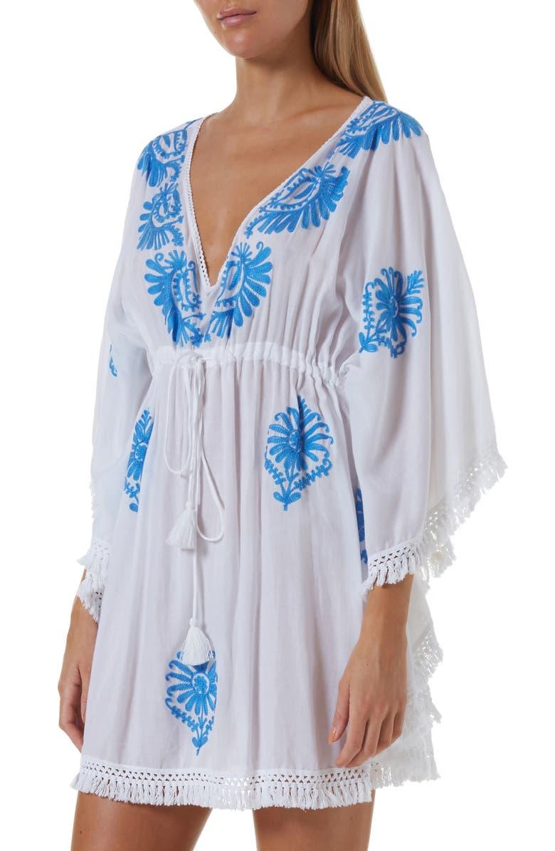 MELISSA ODABASH Irene Cover-Up Caftan, Main, color, WHITE/ ROYAL BLUE