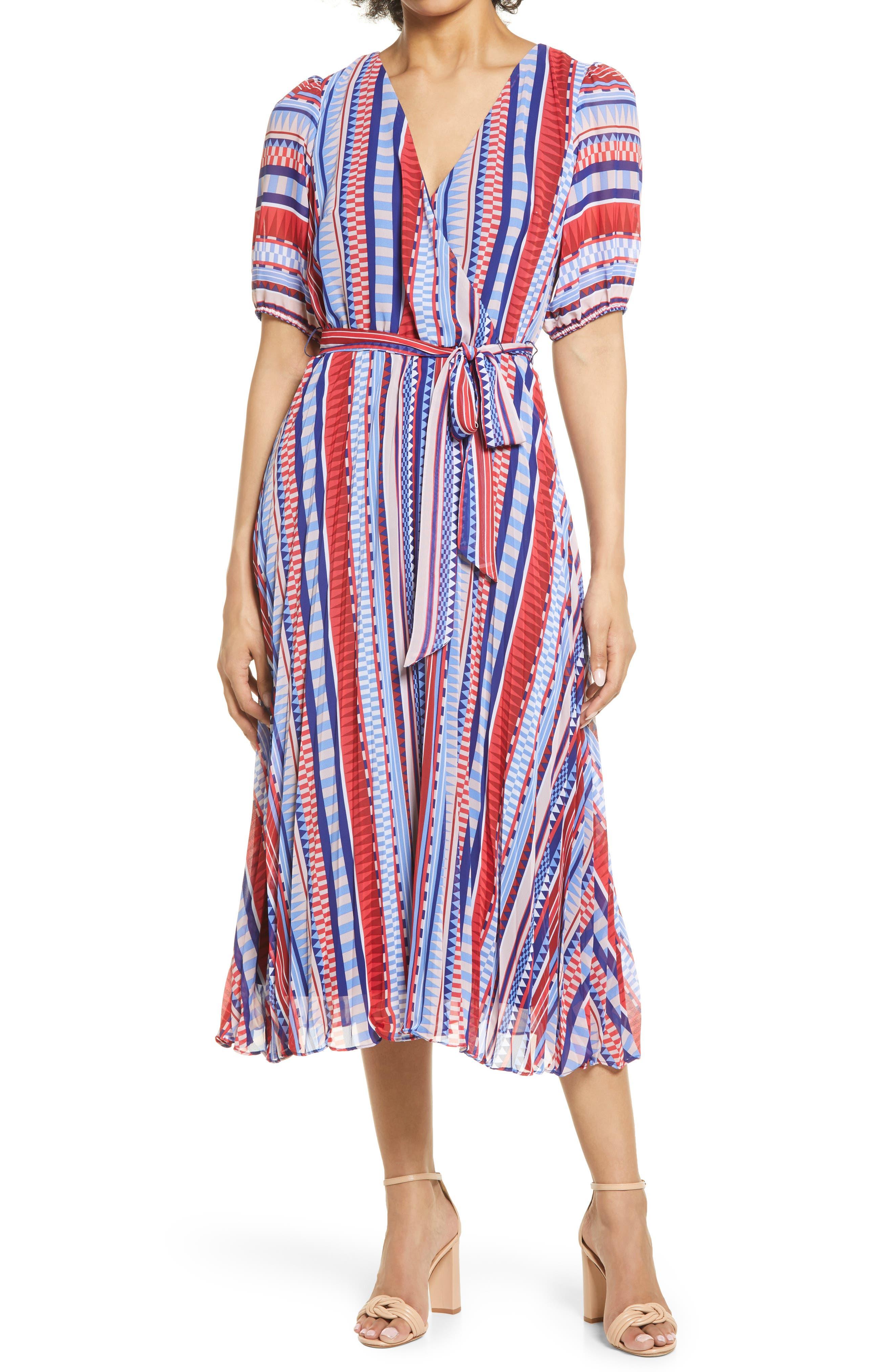 Geometric Stripe Print Midi Dress