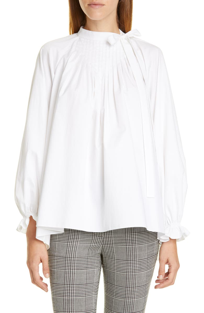 ADAM LIPPES Pintuck Cotton Poplin Blouse, Main, color, 100