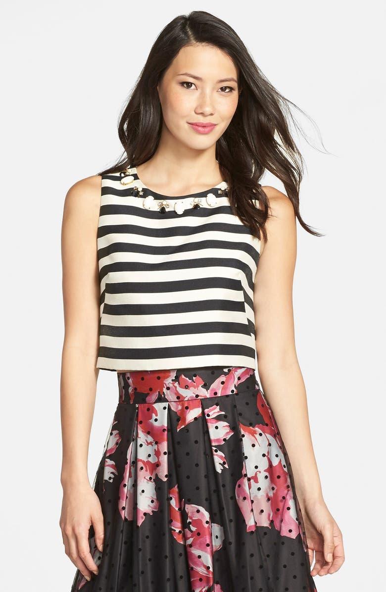 ELIZA J Embellished Stripe Crop Top, Main, color, 001