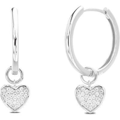 Lesa Michele Dangling Hearts Hoop Earrings