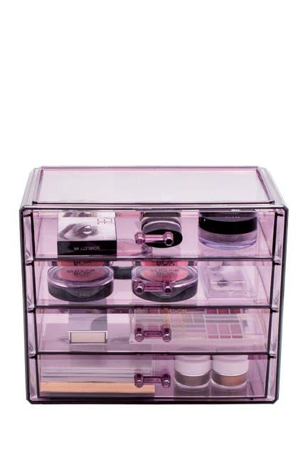 Image of Sorbus Purple Makeup & Jewelry Storage Case Display