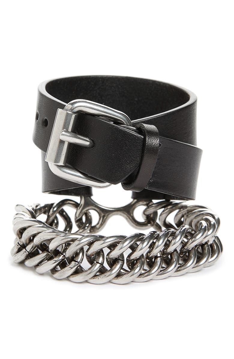 ALEXANDER WANG Leather & Chain Double Wrap Bracelet, Main, color, 001