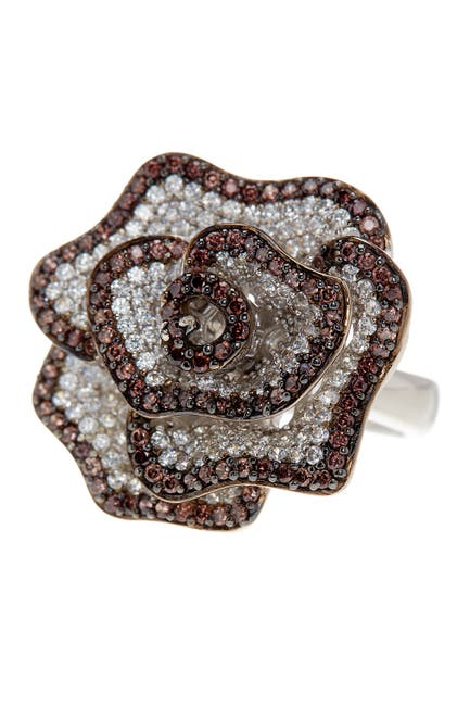 Image of Suzy Levian Sterling Silver Chocolate CZ Ring