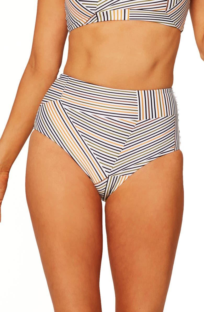 L SPACE Portia High Waist Bikini Bottoms, Main, color, GET IN LINE