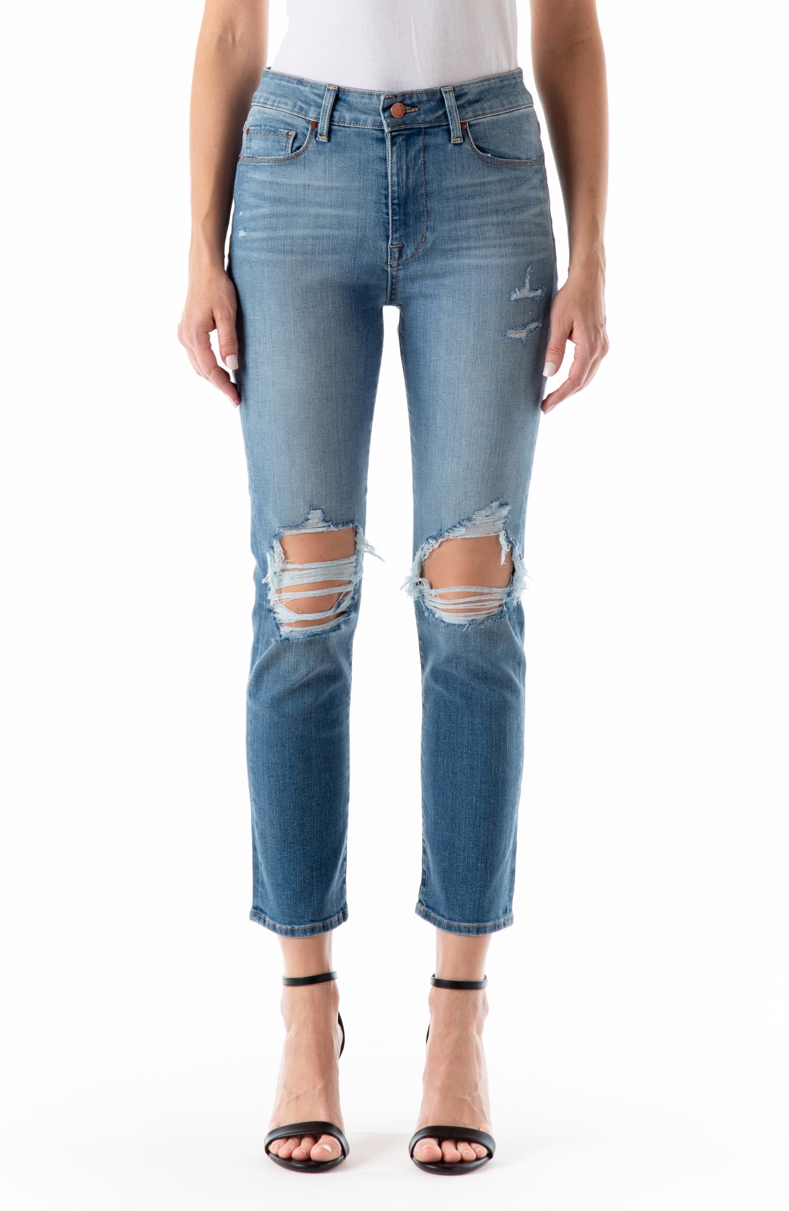Cher High Waist Crop Ankle Straight Jeans