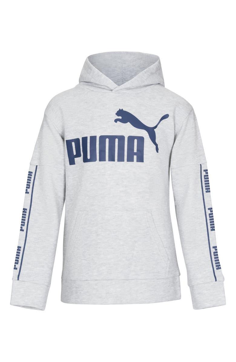 PUMA Amplified Logo Cotton Fleece Hoodie, Main, color, LIGHT HEATHER GREY