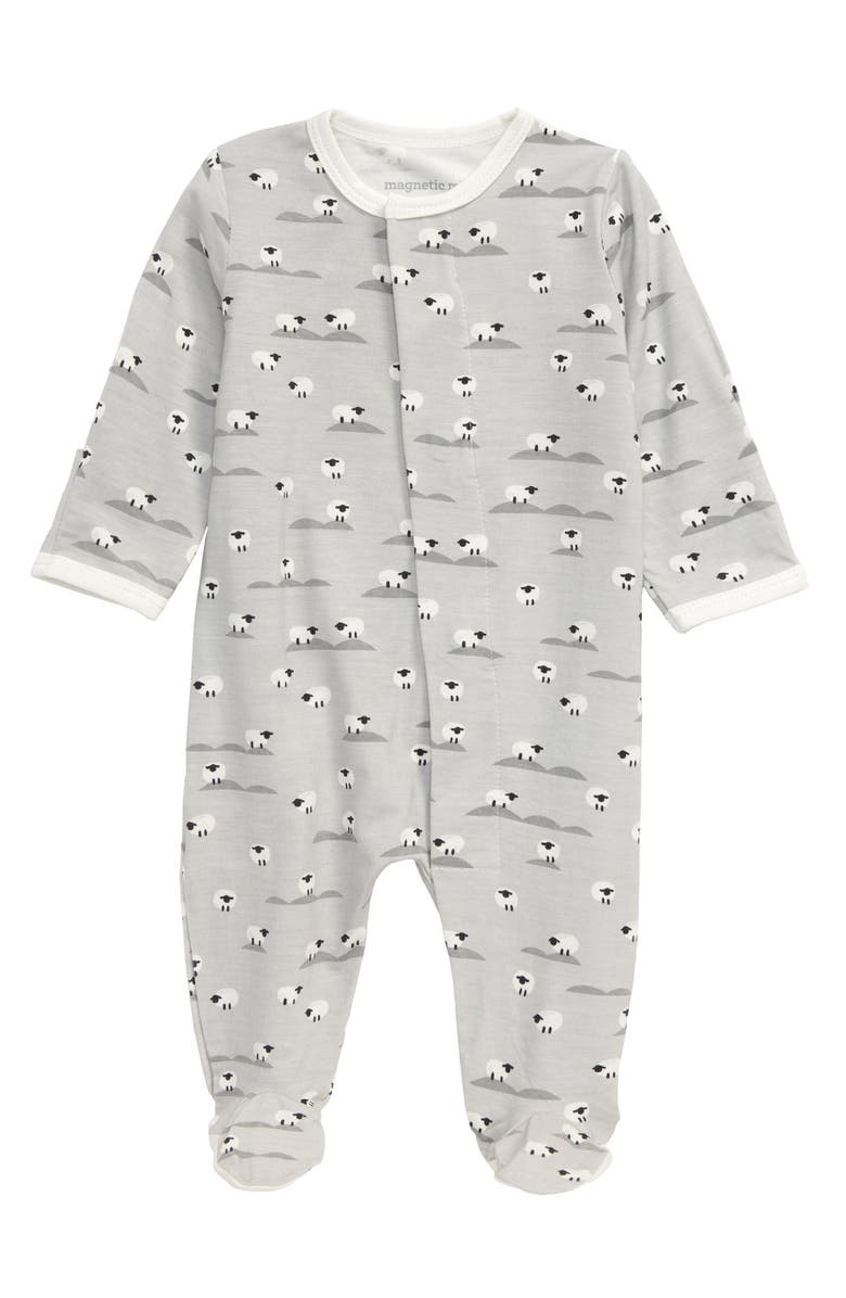 MAGNETIC ME Sheeps Meadow Footie, Main, color, WHITE/ GREY
