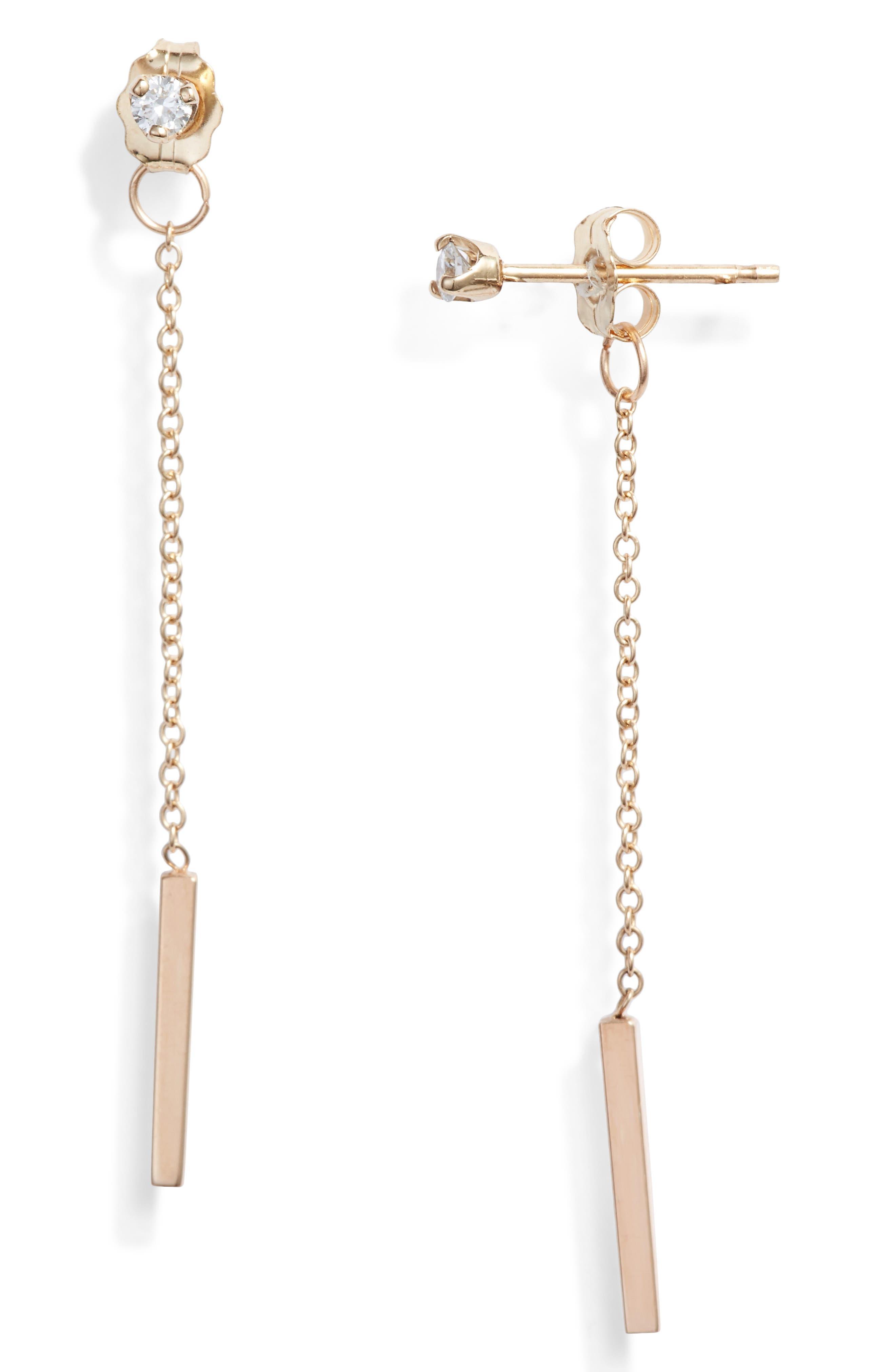 Zoe Chicco Diamond Chain Drop Earrings