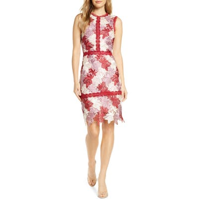 Adelyn Rae Lizette Lace Sheath Dress, Red