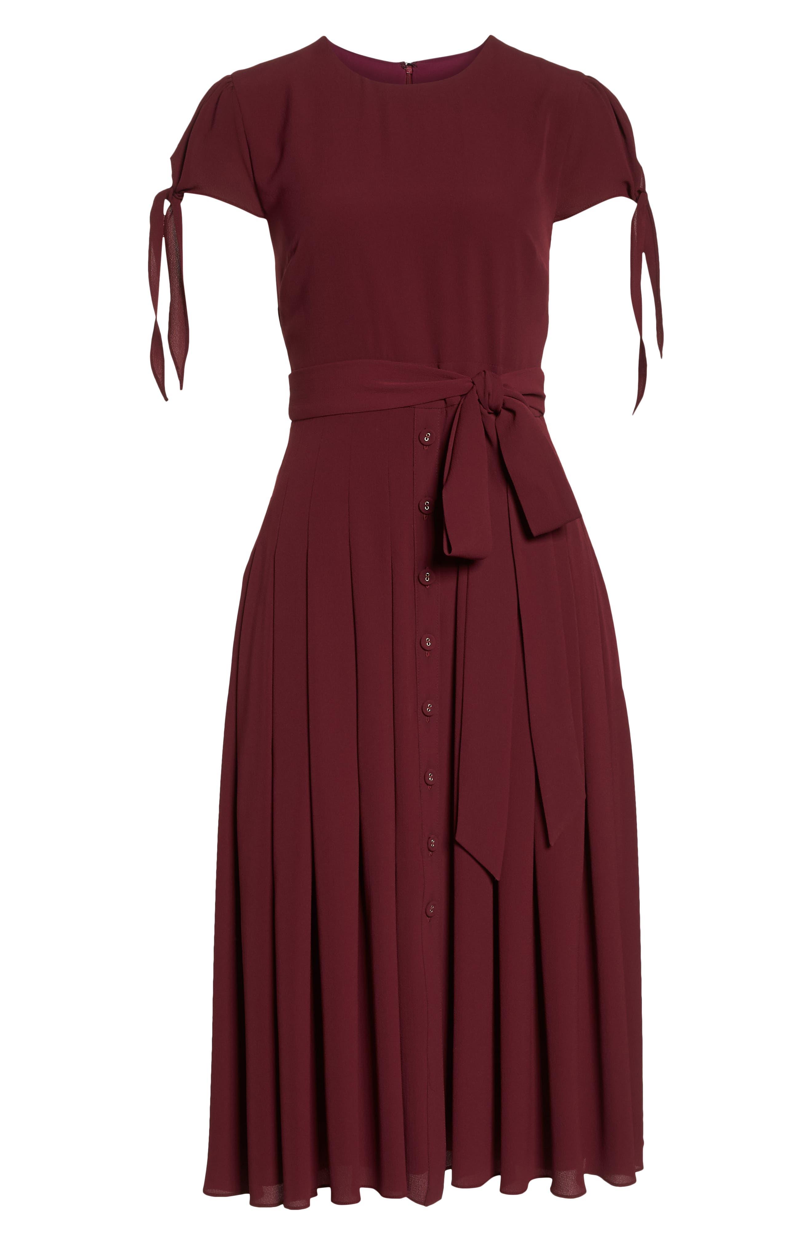 ,                             Bette Pleated Midi Dress,                             Alternate thumbnail 14, color,                             655
