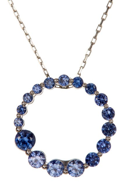 Image of Suzy Levian Sterling Silver Blue Sapphire Journey Pendant Necklace