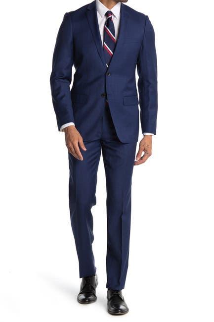 Image of Zanetti Blue Sharkskin Slim Fit Notch Lapel Two-Button Wool Suit