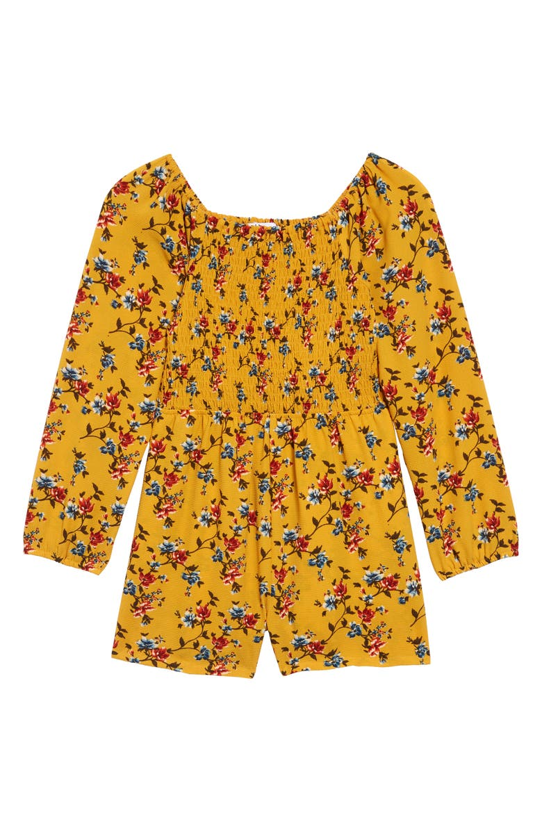 MIA CHICA Smocked Romper, Main, color, YELLOW