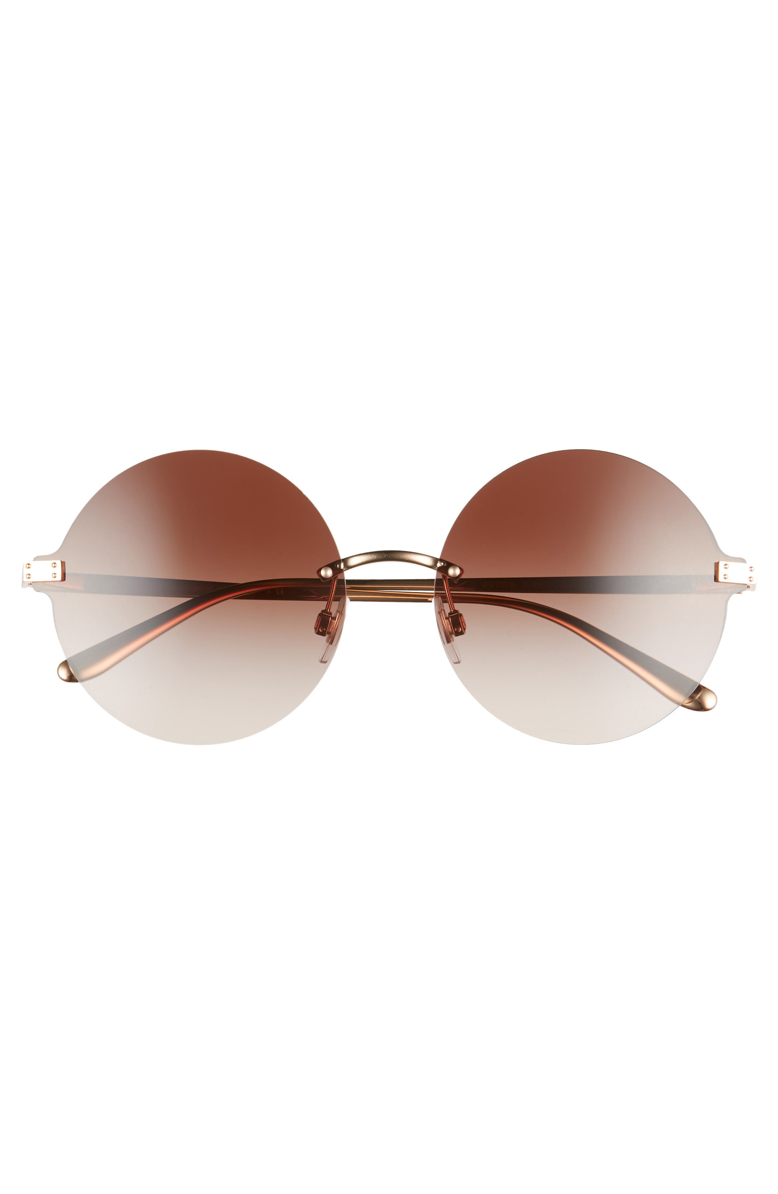 ,                             62mm Oversize Gradient Rimless Round Sunglasses,                             Alternate thumbnail 3, color,                             BROWN/ GOLD