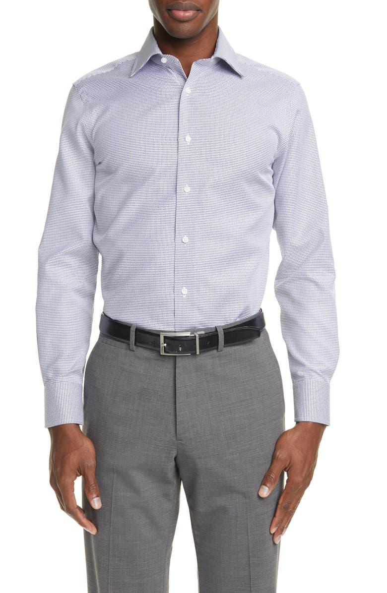 CANALI Regular Fit Geo Non-Iron Dress Shirt, Main, color, BLUE