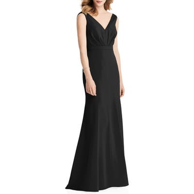 Jenny Packham Cowl Back Chiffon Trumpet Gown, Black