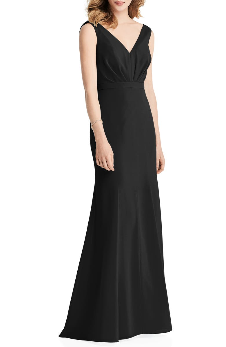 JENNY PACKHAM Cowl Back Chiffon Trumpet Gown, Main, color, BLACK