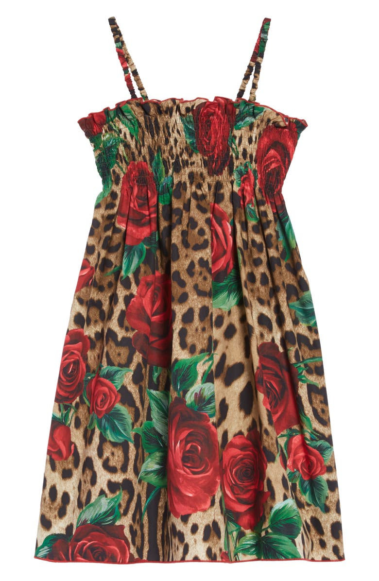 DOLCE&GABBANA Floral Leopard Dress, Main, color, ROSE ROSSE FDO LEO