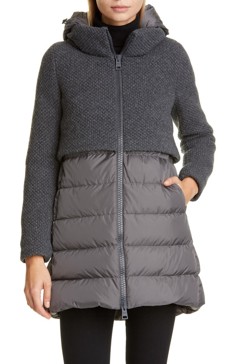 HERNO High/Low Knit & Quilted Down Puffer Jacket, Main, color, DARK GREY