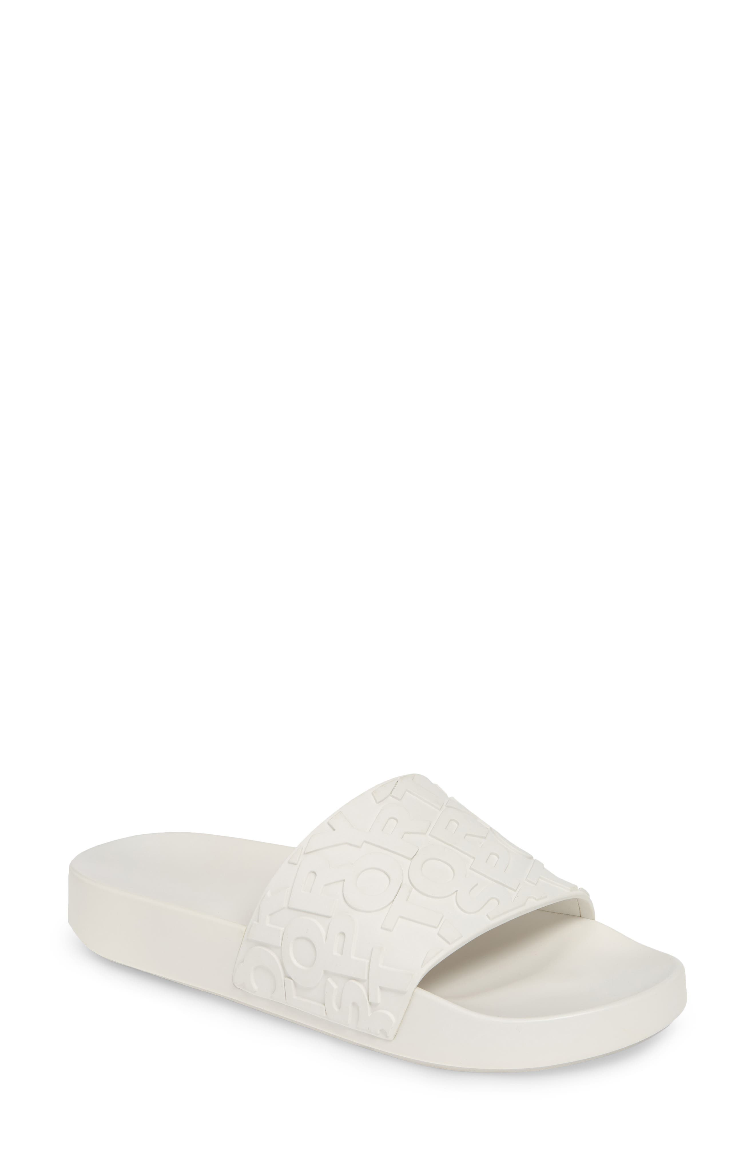 ,                             Tory Burch Embossed Logo Slide Sandal,                             Main thumbnail 1, color,                             OFF WHITE