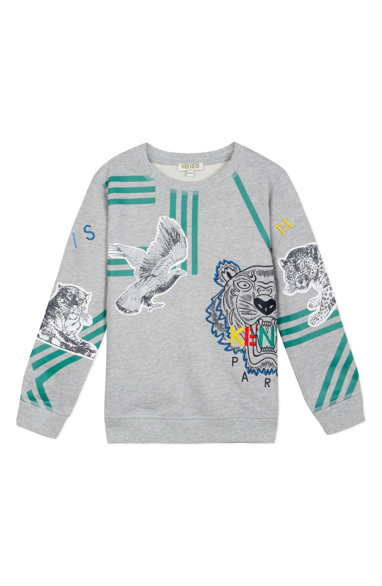 KENZO Graphic Sweatshirt, Main, color, GREY