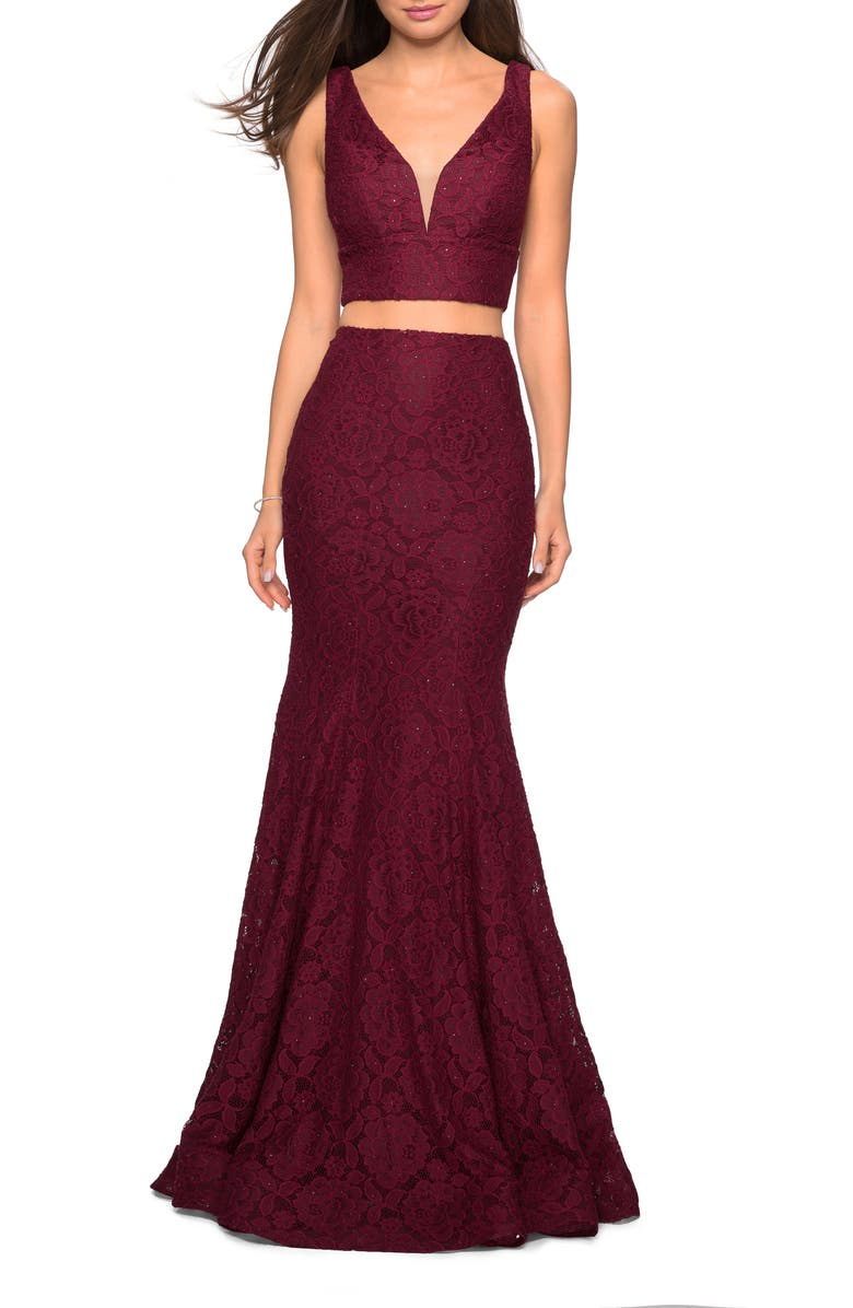 LA FEMME Two-Piece Stretch Lace Mermaid Evening Dress, Main, color, WINE