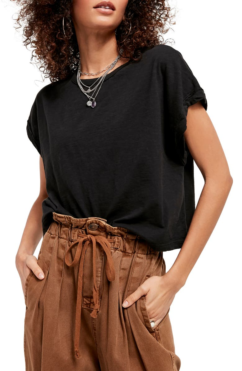 FREE PEOPLE You Rock T-Shirt, Main, color, BLACK