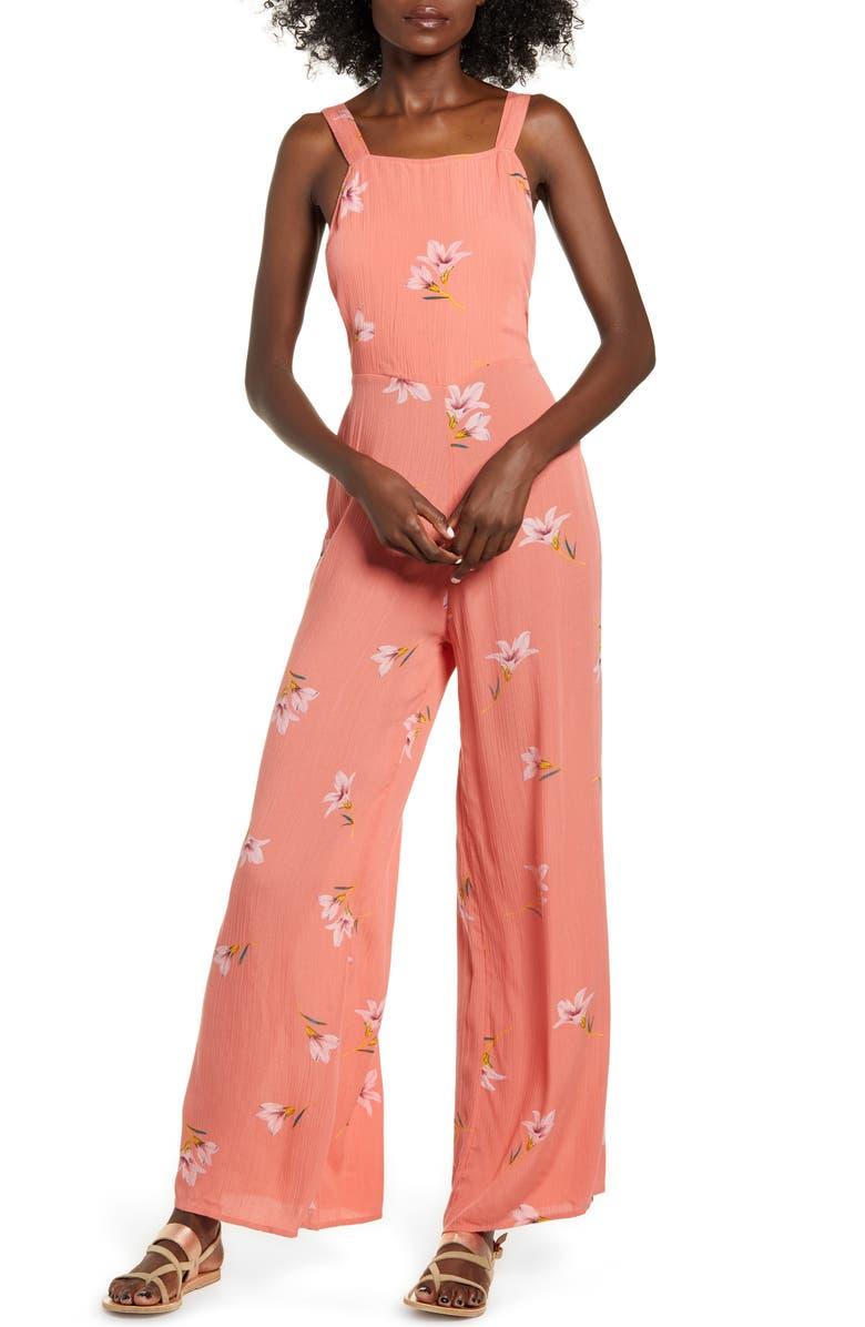 BILLABONG Still Here Floral Wide Leg Jumpsuit, Main, color, EMBER
