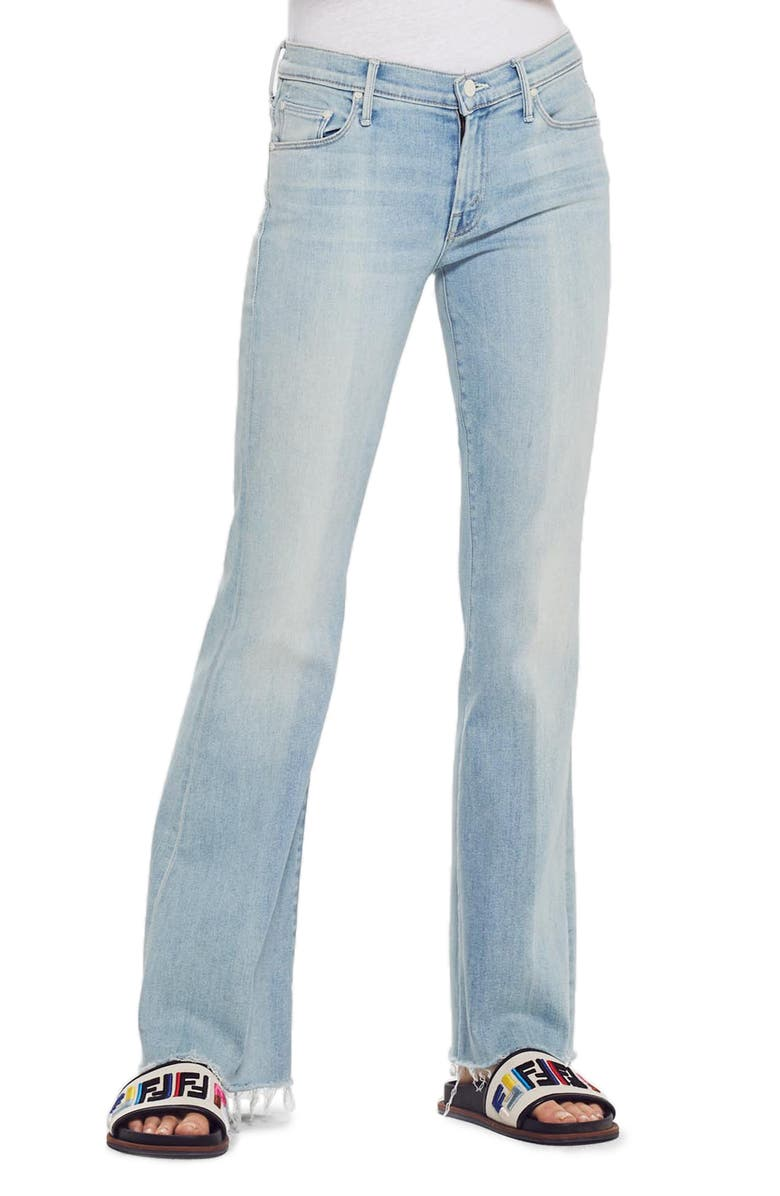 MOTHER Frayed Flare Jeans, Main, color, SWIMMING POOL SUNDAY