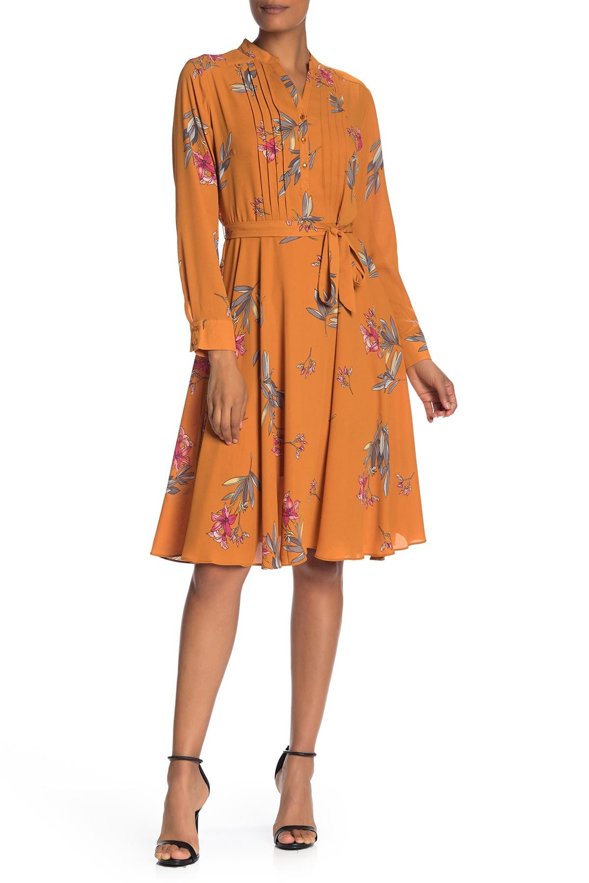 Image of Nanette Lepore Floral Pintuck Long Sleeve Dress