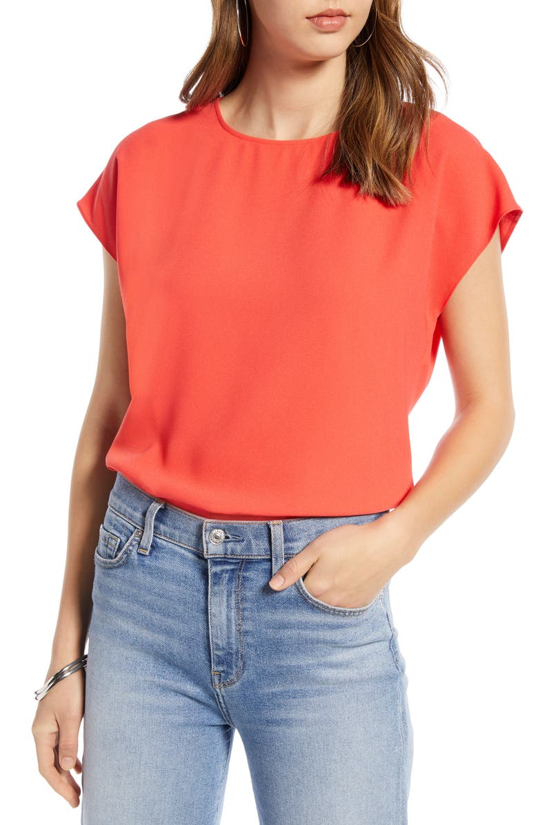 HALOGEN<SUP>®</SUP> Cap Sleeve Blouse, Main, color, RED HIBISCUS