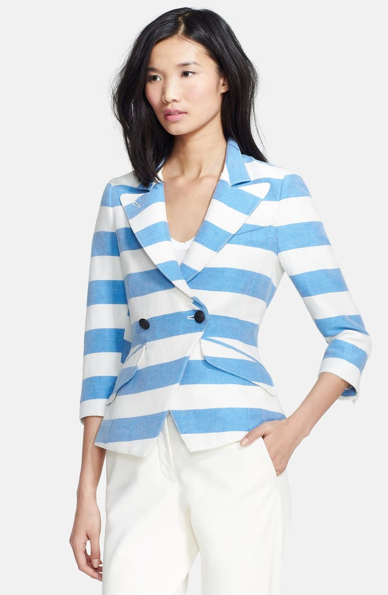 SMYTHE Stripe Linen Blend Blazer, Main, color, 400