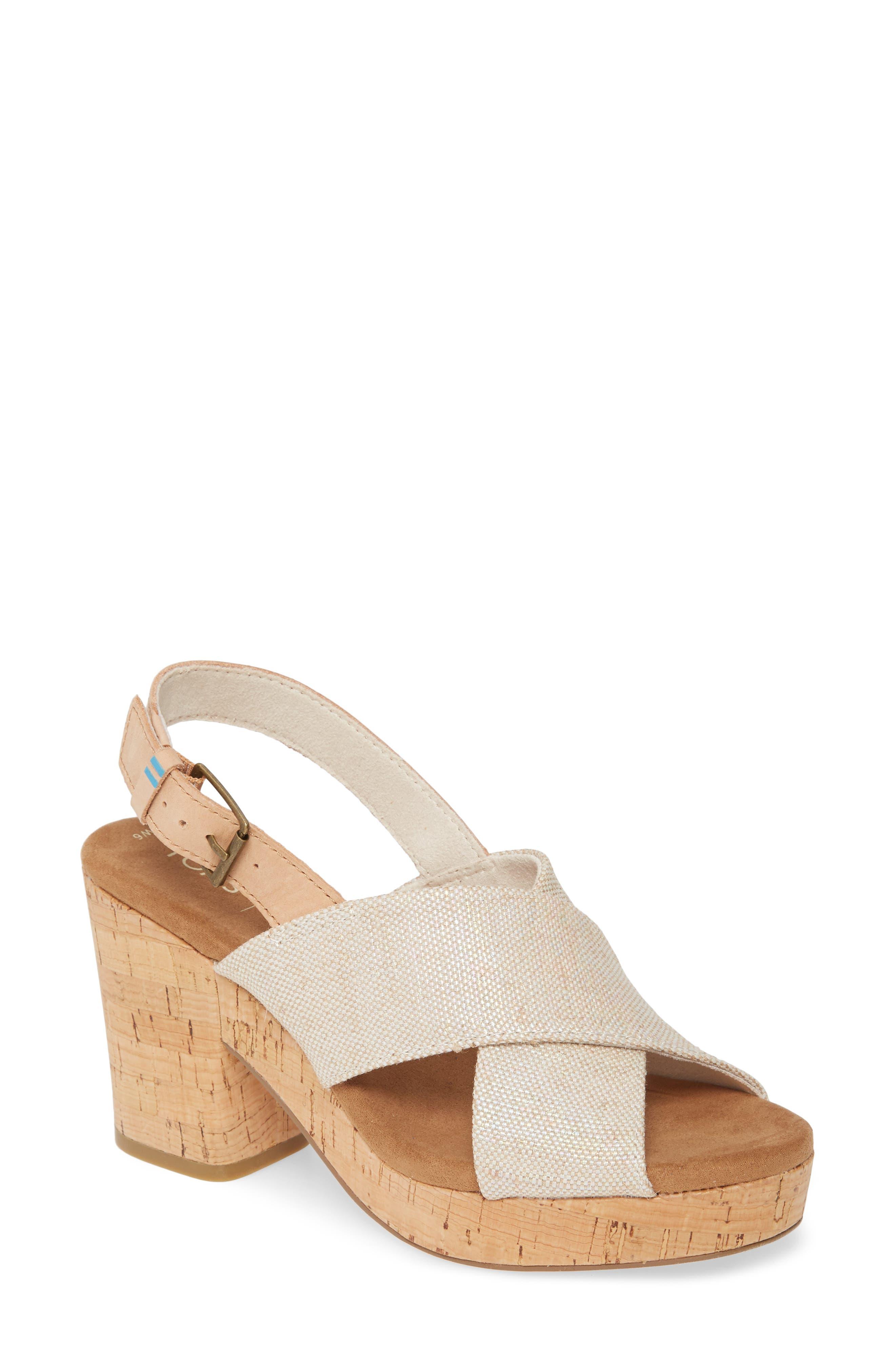 Vintage Sandal History: Retro 1920s to 1970s Sandals Womens Toms Ibiza Platform Slingback Sandal $99.95 AT vintagedancer.com