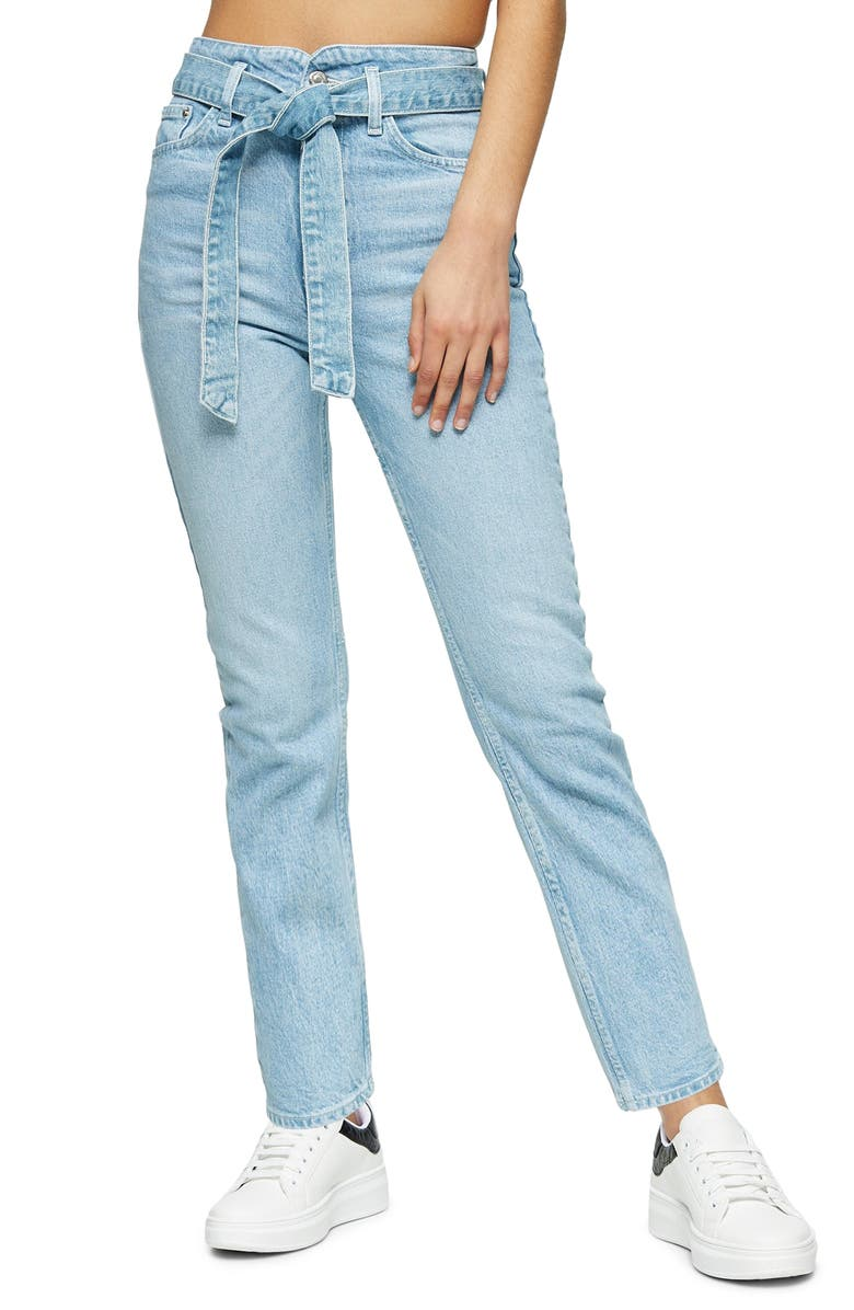 TOPSHOP Belted Crop Straight Leg Jeans, Main, color, BLEACH
