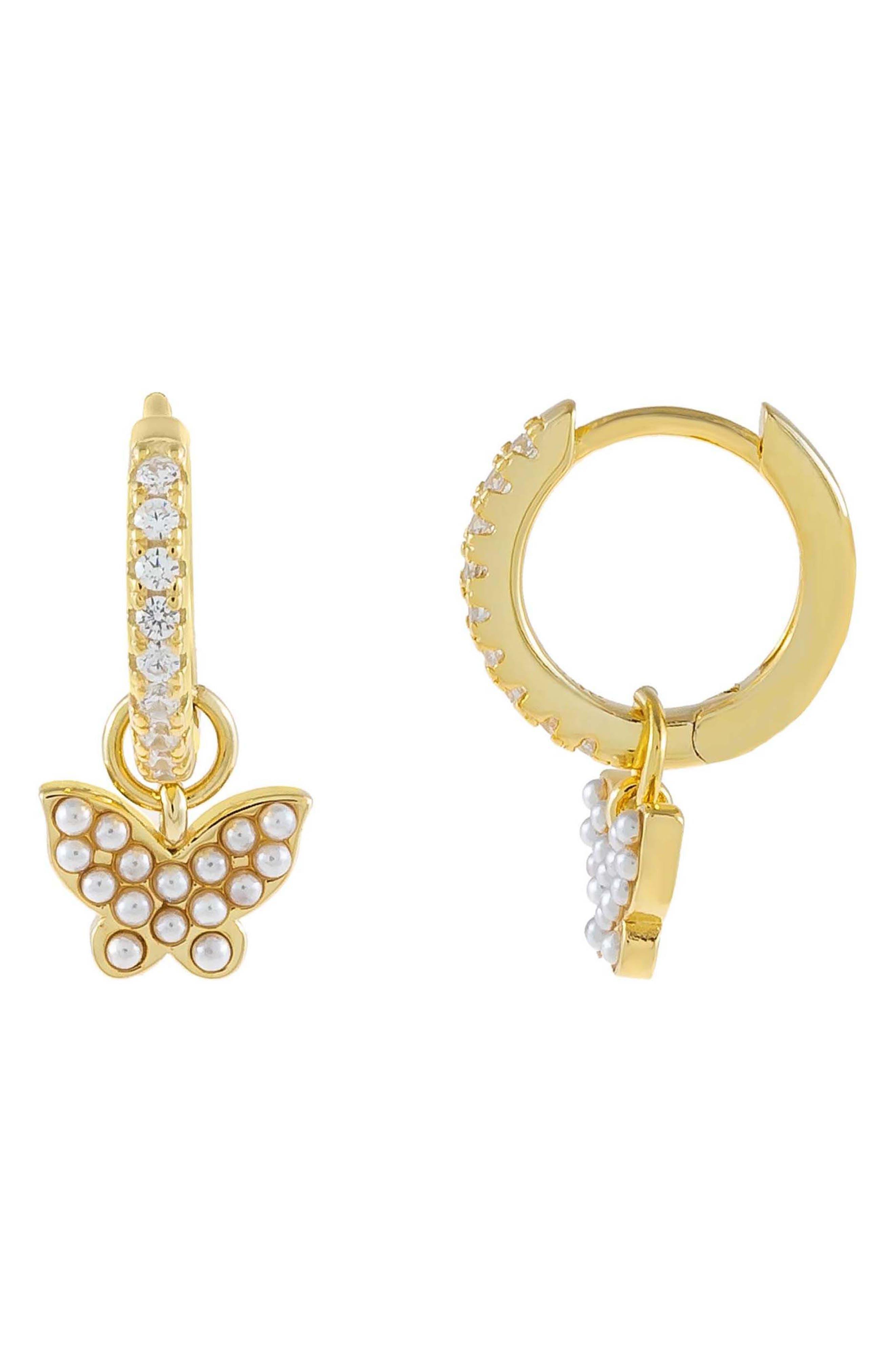 Women's Adina's Jewels Cubic Zirconia Butterfly Huggie Hoop Earrings
