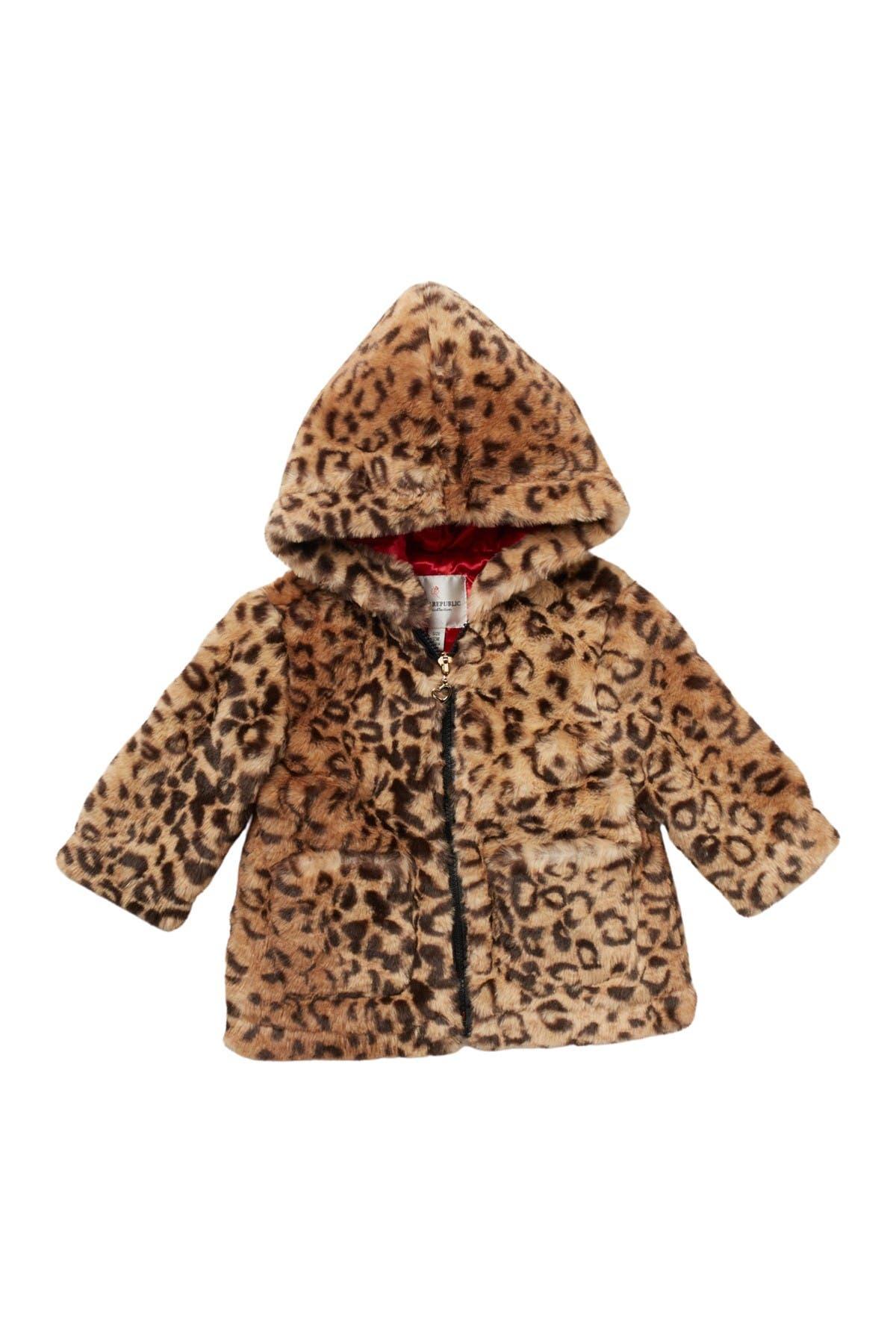 Image of Urban Republic Leopard Print Faux Fur Hoodie