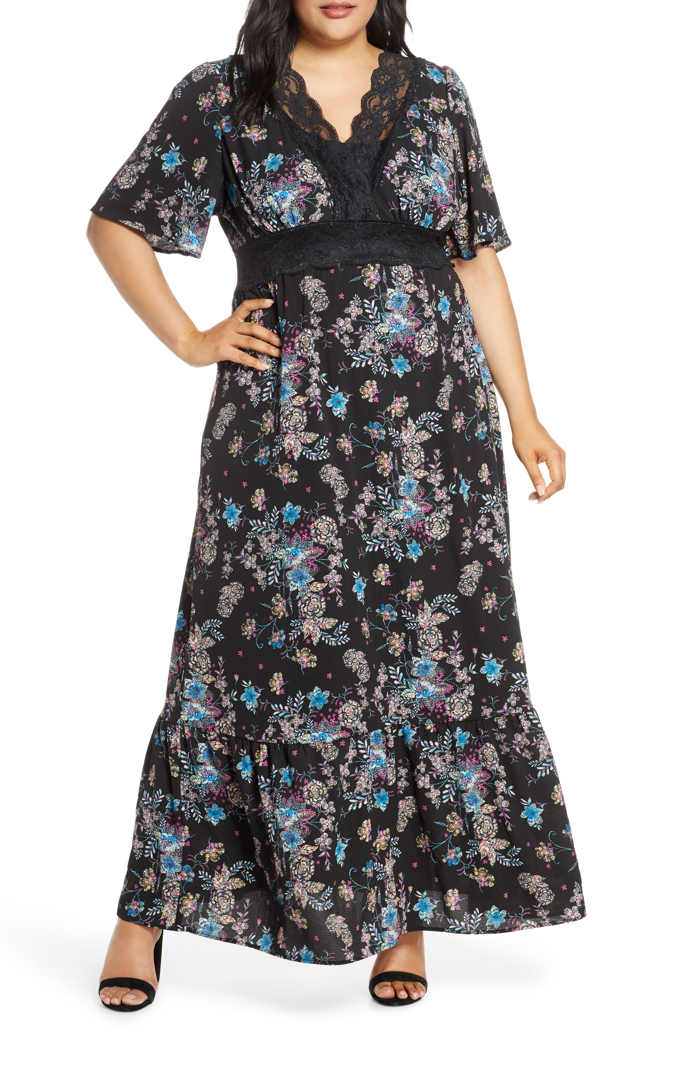 60s 70s Plus Size Dresses, Clothing, Costumes Plus Size Womens Kiyonna Daydream Maxi Dress Size 5X - Bluegreen $128.00 AT vintagedancer.com