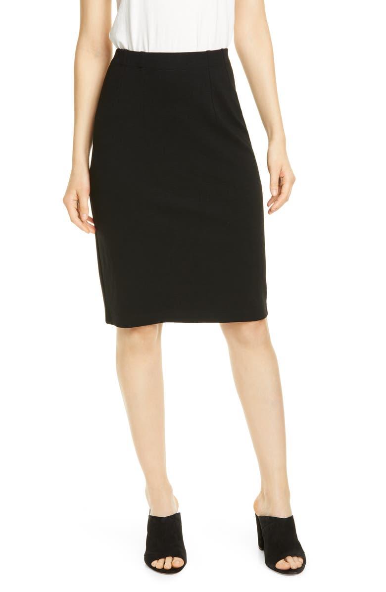 EILEEN FISHER High Waist Pencil Skirt, Main, color, BLACK