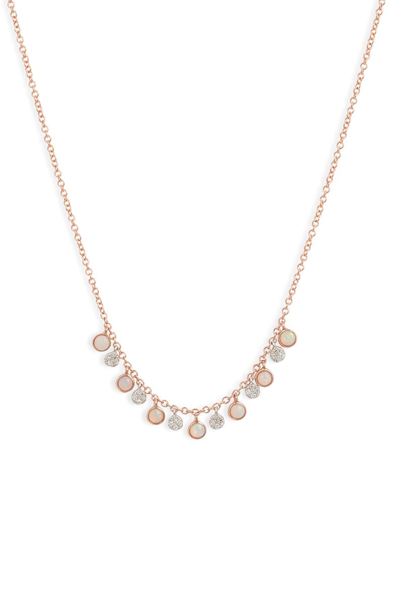MEIRA T Opal & Diamond Shaker Necklace, Main, color, ROSE GOLD