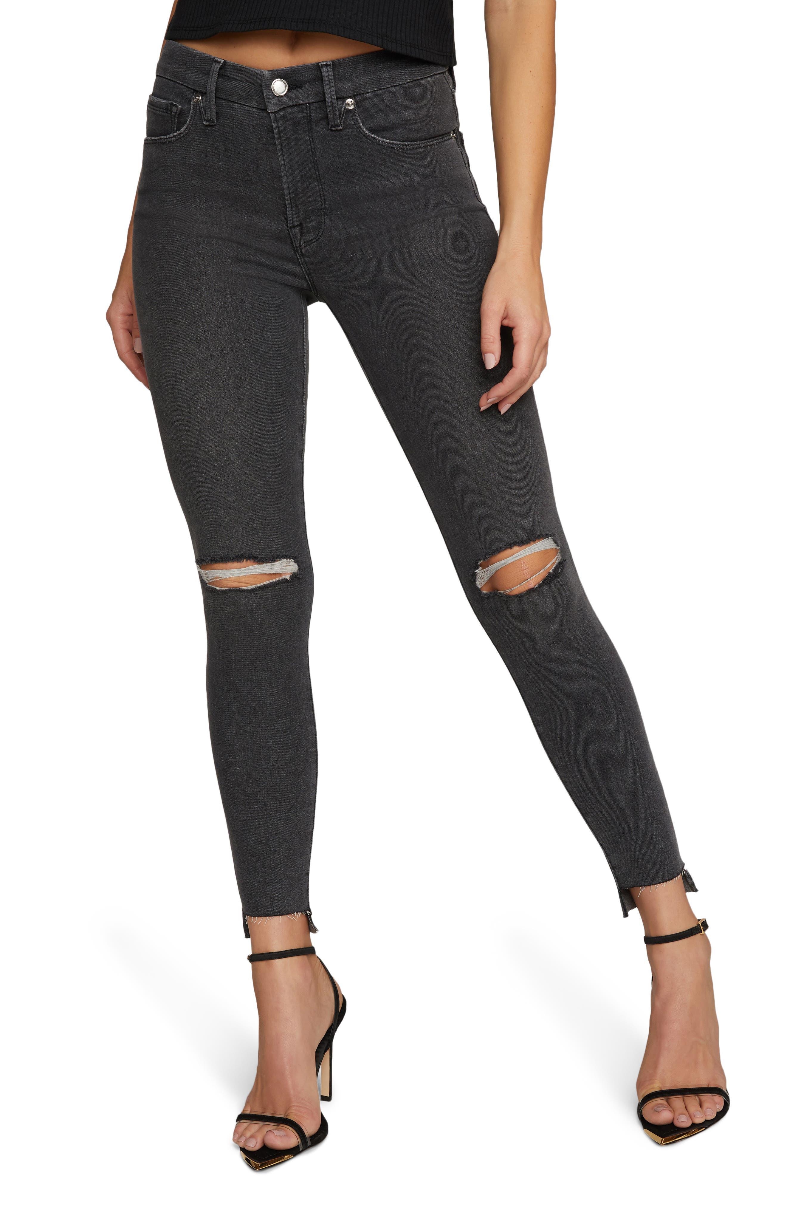 Women's Good American Good Legs Shadow Pockets Ripped Skinny Jeans