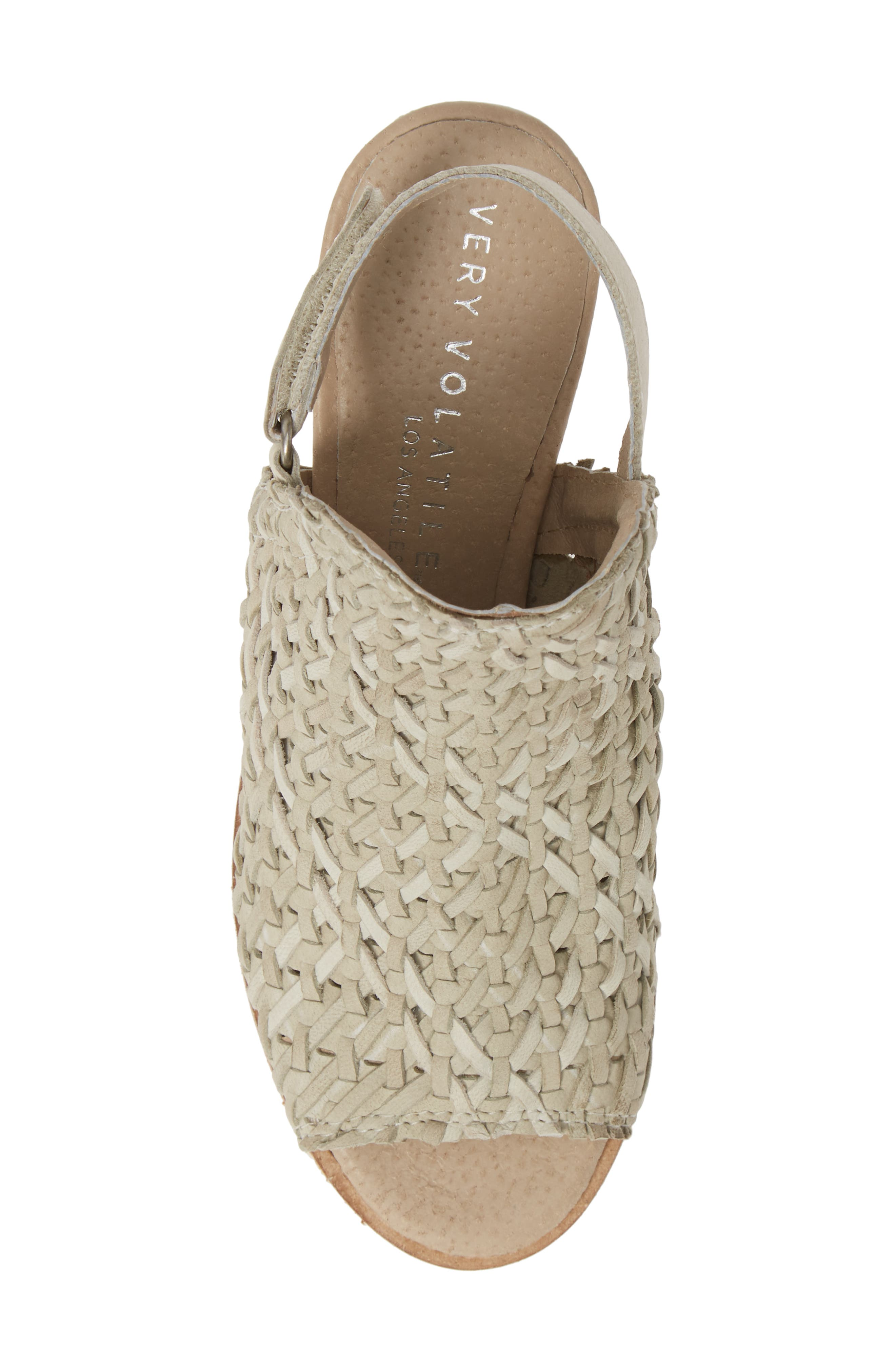 ,                             Veronique Woven Slingback Sandal,                             Alternate thumbnail 5, color,                             STONE LEATHER
