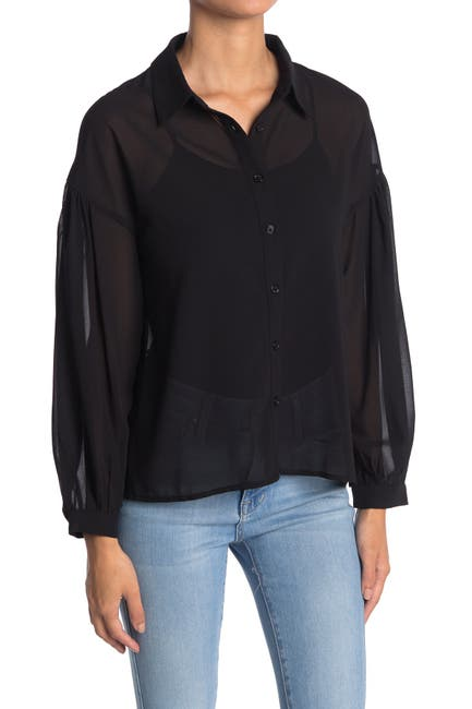 Image of Know One Cares Chiffon High/Low Blouse