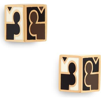 Tory Burch Enamel Logo Half Cube Earrings