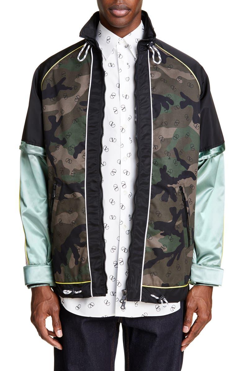 VALENTINO Camo Colorblock Jacket, Main, color, CAMO MULTI