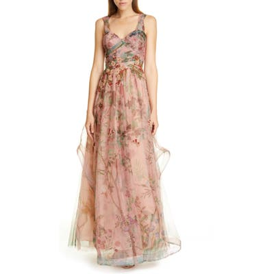 Patbo Print Tulle Evening Gown, US / 42 BR - Pink